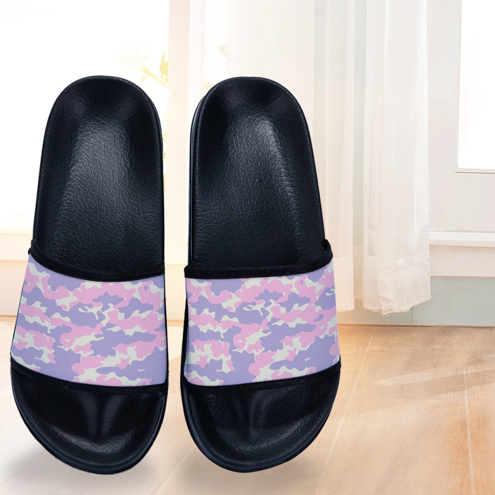 Kids Slides Sandals Beach Sandals Casual Outdoor Slippers for Boys Girl Black White