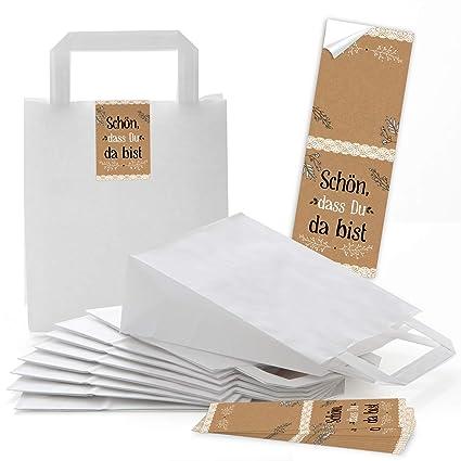 Logbuch-Verlag - Bolsas de papel blancas con asa y lazos ...