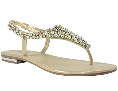 cd7591f40dd9 Womens flat sandals diamante pearl ladies sling back holiday casual party  shoes Gold 7
