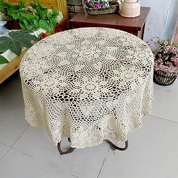 Qiao jin Manteles Mantel Redondo Flor de Ganchillo Hecho a Mano Mesa de Centro pequeña Mantel Tejido de algodón Vintage (Color : Beige, ...
