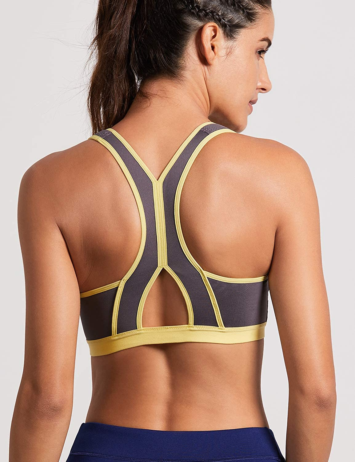 SYROKAN Womens High Impact Zipper Front Closure Wirefree Non Pads Workout Sports Bra