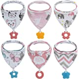 Baby Bandana Drool Bibs 6-Pack and Teething Toys 6-Pack Made with 100% Organic Cotton, Absorbent and Soft Unisex (Vuminbox) (