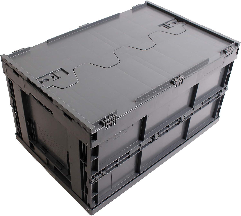 CAJA PLEGABLE CON TAPA 61L, caja plegable de plastico, caja de transporte, cesta de la compra, 60x40x33cm, gris