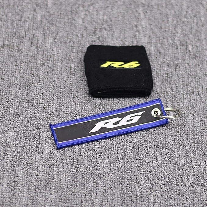 Motorrad Yzf R6 3d Logo Front Bremsflüssigkeitsbehälter Socke Flüssigkeit Öltank Cup Abdeckung Sleeve Black Yellow For Yamaha R6 Mit Keyring Color A Auto