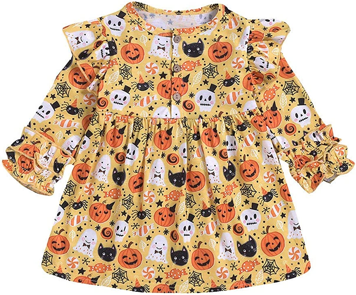 Falda NiñA, Ropa Bebe NiñA Halloween Manga Larga ImpresióN De Dibujos Animados Estampado De Calabaza Vestido Elegante (Amarillo, 90): Amazon.es: Ropa y accesorios