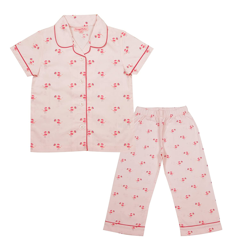 CrayonFlakes Kids Wear for Girls 100/% Cotton Printed Night Suit Sleep Set Pink
