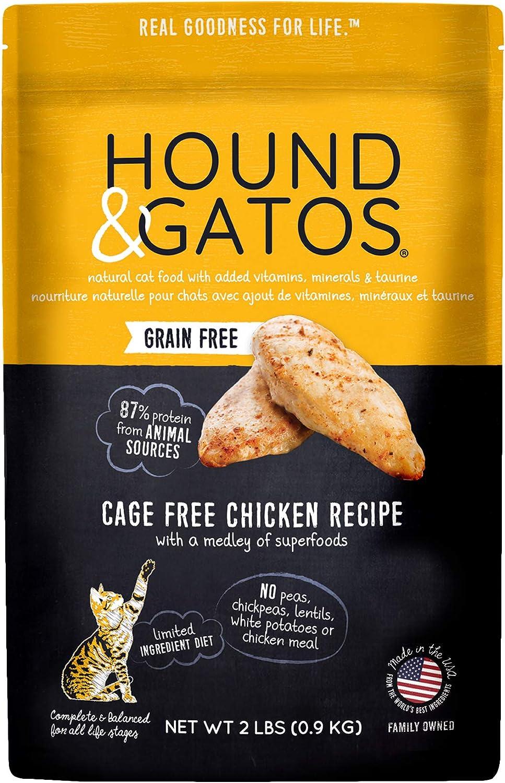 Hound & Gatos Dry Cat Food, Cage Free Chicken Recipe, 2 lb bag