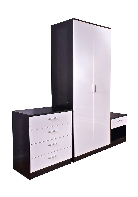 bari bedroom furniture. trio white high gloss u0026 black frame 3 piece bedroom furniture set amazoncouk kitchen home bari