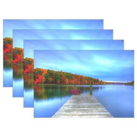 baihuishop hermoso lago Fores azul cielo 12 x 18
