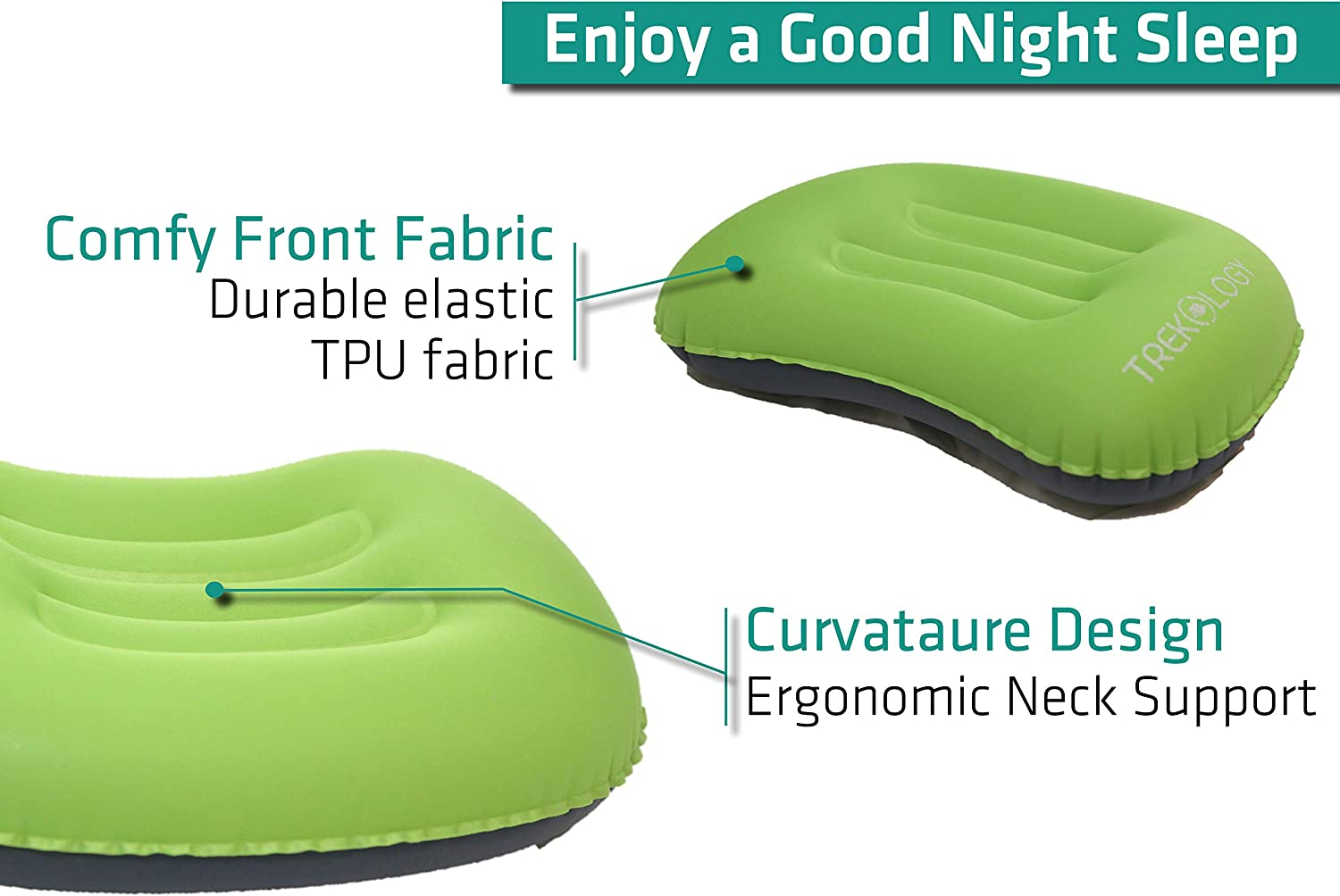Comfortable Aluft 1.0 Compressible Backpacking Compact Ergonomic Pillow for Neck /& Lumbar Support While Camp Inflatable TREKOLOGY Ultralight Inflating Travel//Camping Pillows Hike