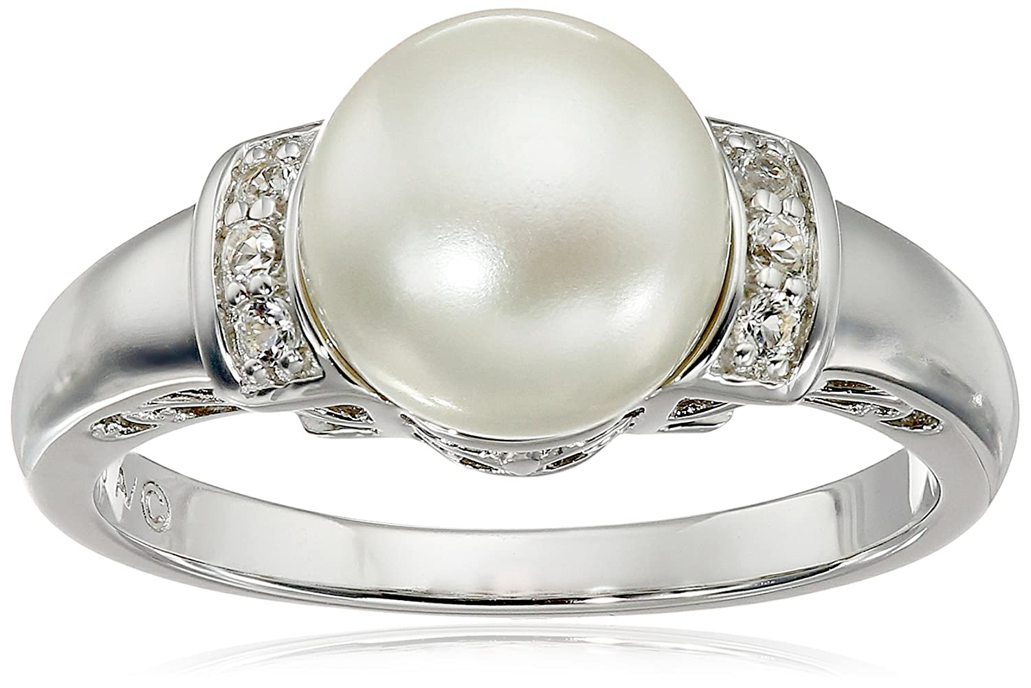 10k White Gold Freshwater Cultured Pearl And Diamond Ring To Enjoy High Reputation At Home And Abroad Jewelry & Watches