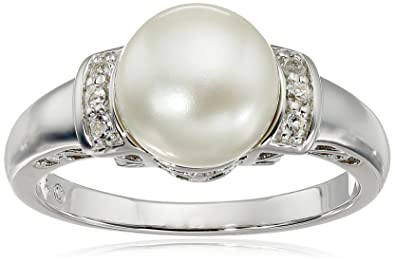 Sterling Silver, Freshwater Cultured White Pearl, and White Topaz Ring  (9-9 5mm)