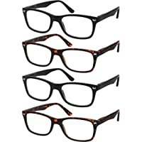 e290e02f0d Reading Glasses Set of 4 Black Quality Readers Spring Hinge Glasses for  Reading for Men and
