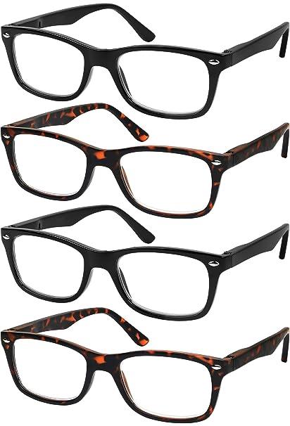 338e36fe34 Reading Glasses Set of 4 Quality Readers Spring Hinge Glasses for Reading  for Men and Women