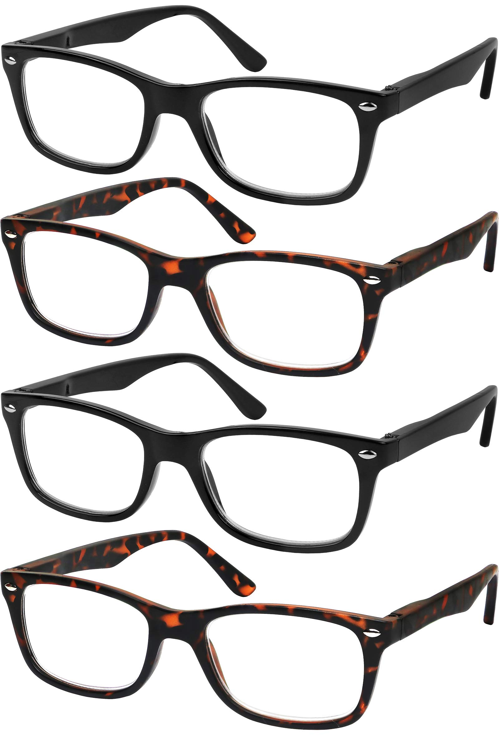 Reading Glasses Set of 4 Quality Readers Spring Hinge Glasses for Reading for Men and Women Set of 2 Black and 2 Havana +1.5