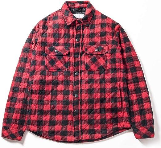 チェックシャツスタイル 中綿コート キルト中綿シャツ 長袖 ネルシャツ防寒 カジュアル ユニセックスカップルシャツ