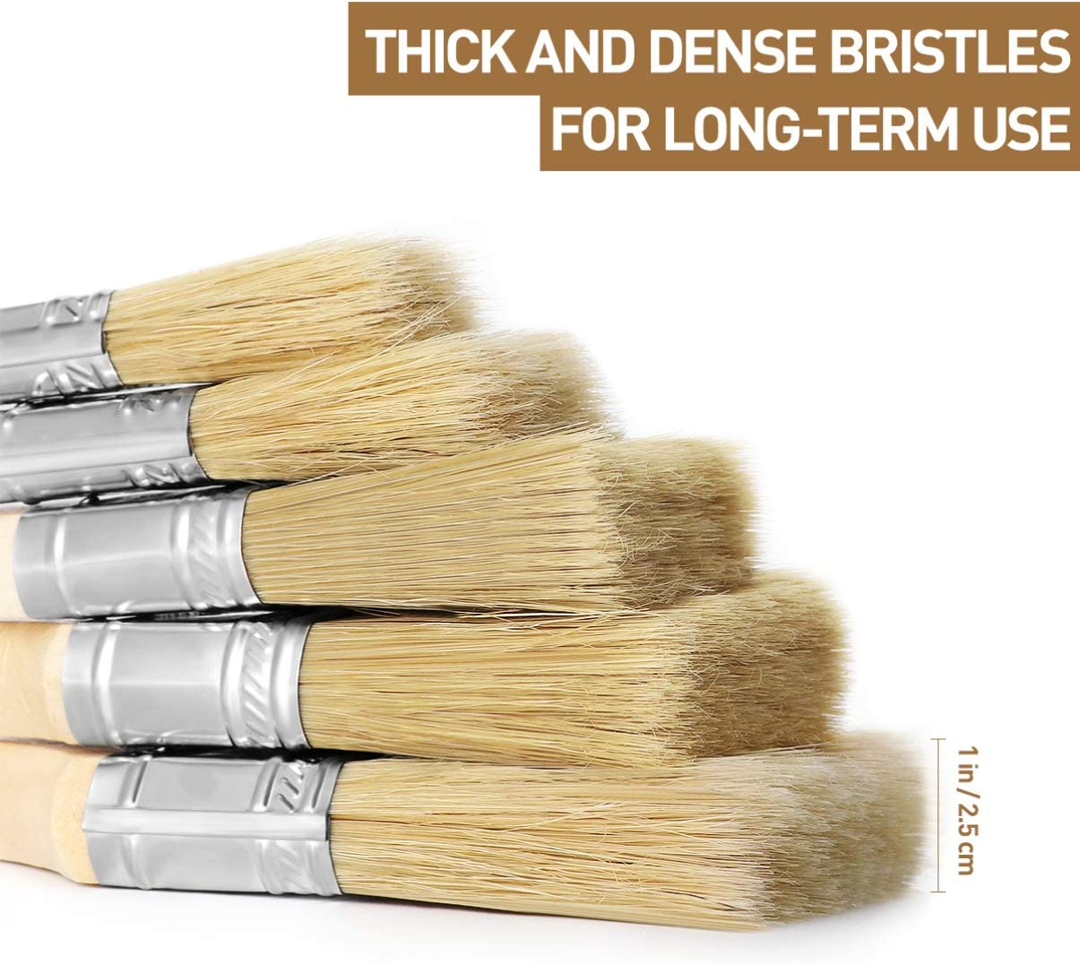 20pcs Paint Brush 10cm Wood Handle Bristles for Smooth Paint Oil Stain