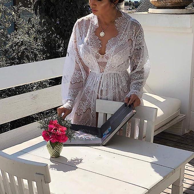 K-Youth® Conjuntos de lencería Mujer Pijama Erótico Kimono Sexy Ropa Interior Encaje Tul Babydoll Mujer Camisón Semi Transparente Femenina Tentación ...