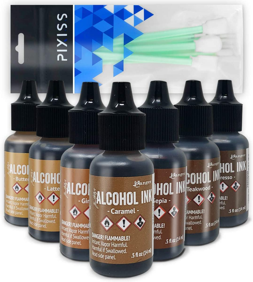 Brown Alcohol Inks Set | Tim Holtz Alcohol Inks Shades of Brown 7-Pack | Teakwood, Espresso, Latte, Ginger, Caramel, Sepia, Butterscotch | 10 Pixiss Alcohol Ink Blending Tools