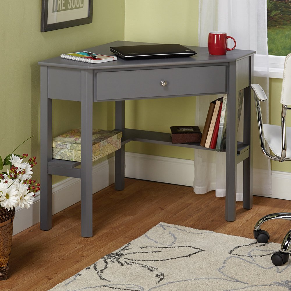 . Amazon com  Simple Living Ellen Grey Corner Desk  Kitchen   Dining
