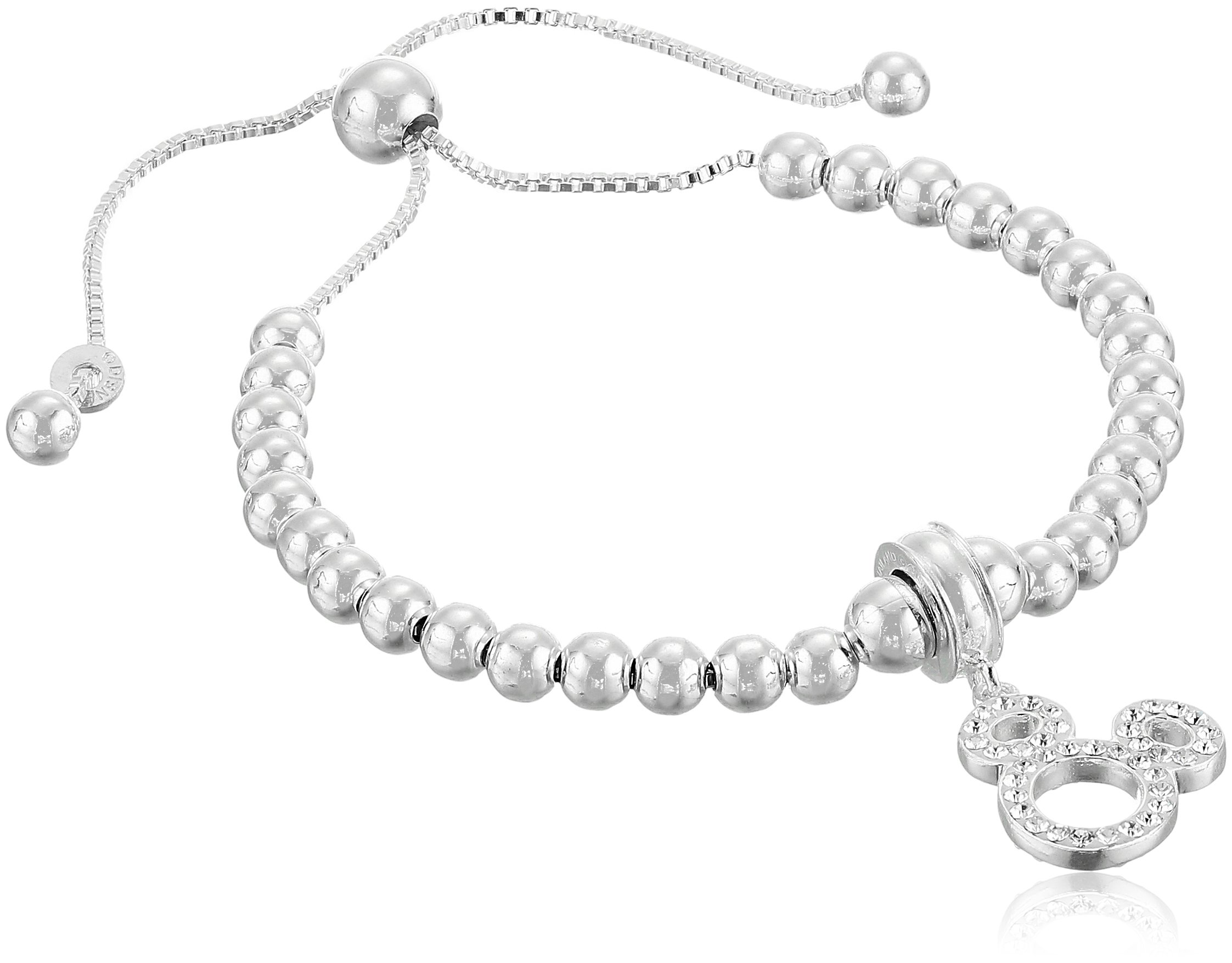 Disney Sterling Silver Crystal Mickey Beaded Lariat Charm Bracelet