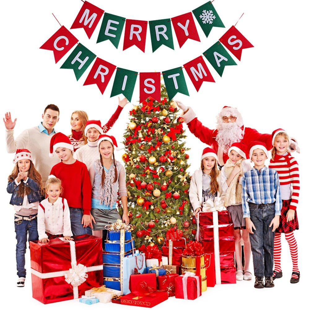 Amazon.com: Merry Christmas Banner Christmas Party Garland Bunting ...