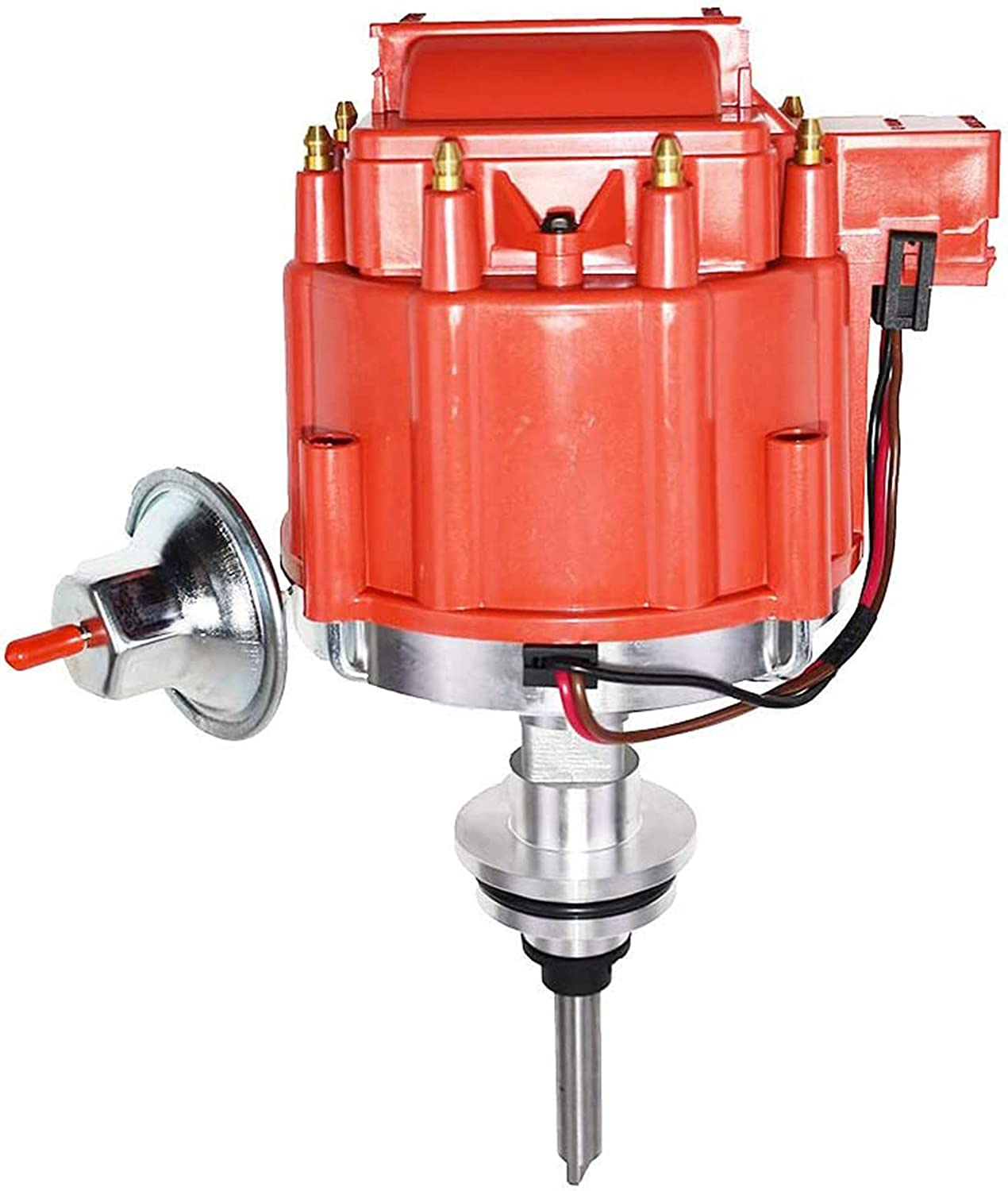 A-Team Performance Complete HEI Distributor 65K Coil Compatible with Mopar Chrysler Dodge Plymouth V8 Engines 273 318 340 360 One-Wire Installation Red Cap