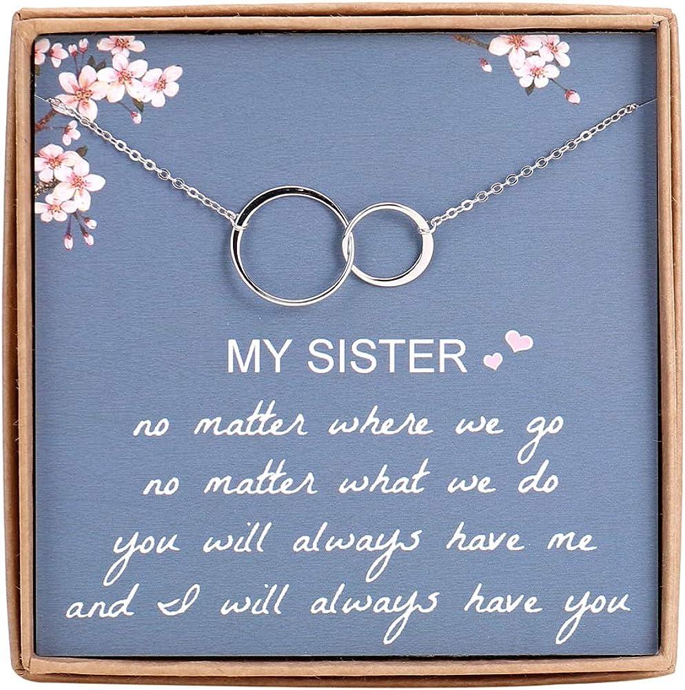 Sister Gifts of Sister - Collar de plata de ley 925 con 2 círculos para hermanas, joyería de cumpleaños y regalos de firendship