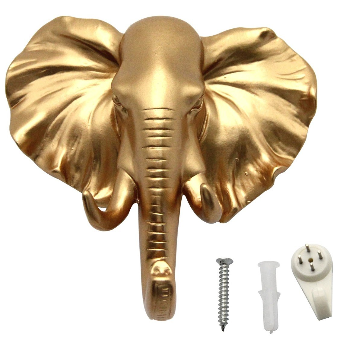 Evilandat Single Elephant Head Ear Wall Hanger Coat Hat Hook Animal Shaped Decorative Gift Gold