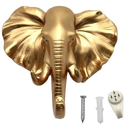 evilandat sola oreja de cabeza de elefante Perchero de pared perchero sombrero gancho con forma de animales decorativo regalo, dorado