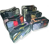 Luggage Packing Cubes Set for Travel 6 pack Clear Vinyl | Heavy Duty Zippers | Carry Handle | Great Organizer Various Sizes | Packing Bag Set | Quality Zippers| Storage Bags