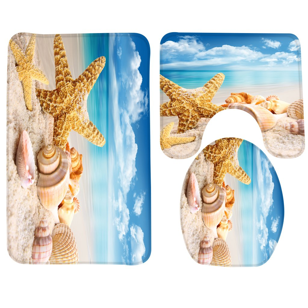Sea Shell Bathroom Rug,Non-Slip 3 Piece Bathroom Mat Set