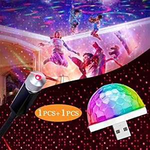 USB Night Light Star Projector Light Car and Mini Disco Ball Light, Laser Light car, Auto Roof with Party Light, Adjustable Galaxy Flexible Interior USB Light for Ceiling, Bedroom, Party, Plug & Play