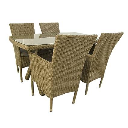 Conjunto Muebles jardín, Mesa 140x80 cm y 4 sillones ...