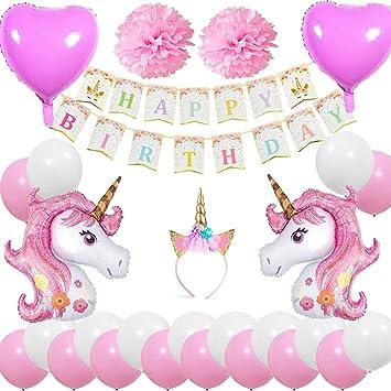 Cebelle Unicornio Fiesta cumpleaños Decoraciones Suministros, Unicorn Horn Diadema, Happy Birthday Banner, 2 enormes Unicornio, 2 Flores y 2 Corazón ...