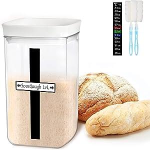 Sourdough Starter Jar Kit, 35 Oz DIY Sourdough Starter Jar with Magnetic Strip, Thermometer, Marker Tag, Jar cleaning brushes - Reusable Sourdough Jar Kit, Use for Home Bakery & Dry Food Storage
