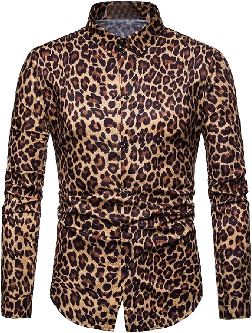 YUNY Men Non-Iron Long Sleeve Leopard Tailored Fit Individuality Shirt Yellow XL