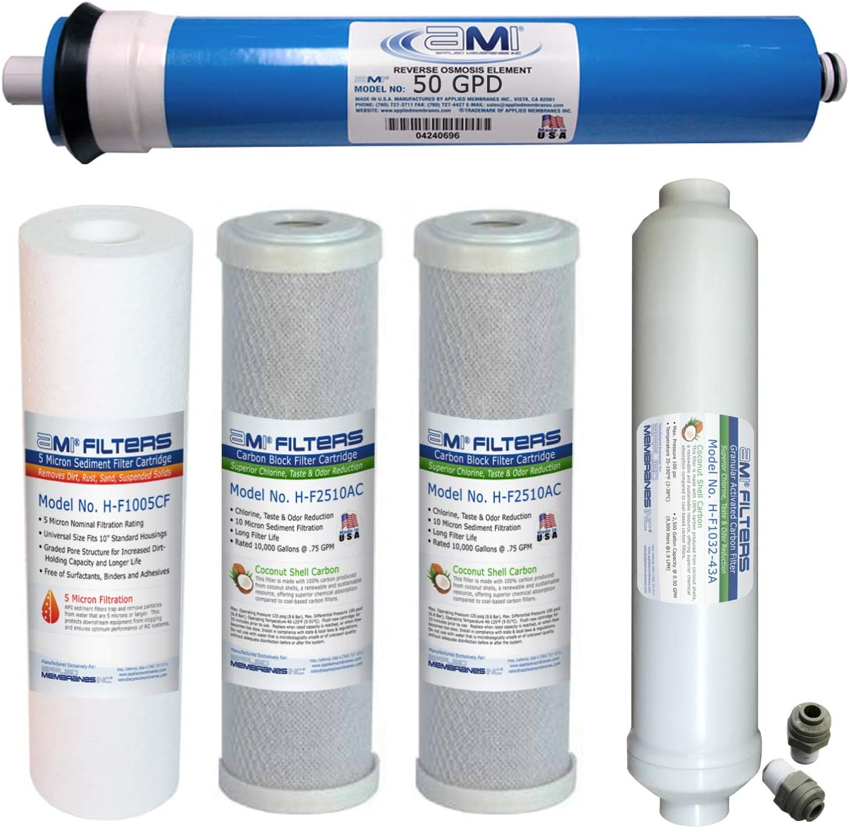 AMI Reverse Osmosis Membrane & Filter Replacement | 50 GPD Membrane with Pre & Post Filter Complete RO Filter Set | For 5 Stage Water Filtration Systems (50 GPD Membrane + Filters)