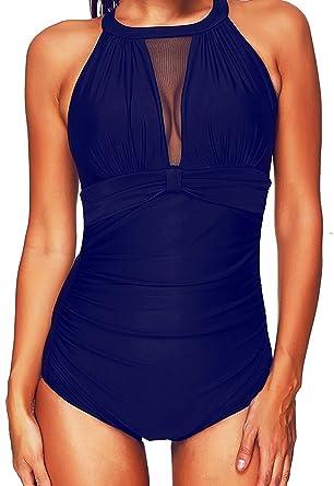 Sixyotie Badeanzug Schwimmanzug Damen Einteiler Schlankheits Raffung High  Neck Bademode Strandmode  Amazon.de  Bekleidung ef962b96e7
