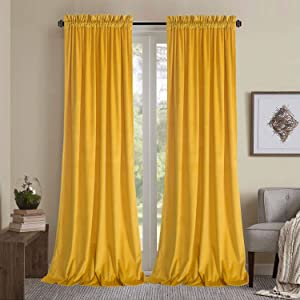 Roslynwood Block Light Velvet Curtains - Decorative Super Soft Velvet Curtain Panel, Energy Smart Kitchen Slide Door Insulated Drapes for Rod Pocket /52Wx63L Warm Yellow, 2 Panels