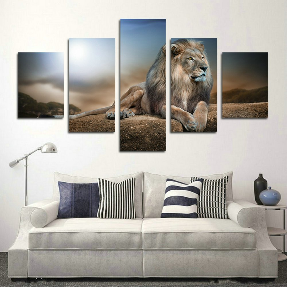 60W x 32H, Framed SwmArt 5 Piece Wall Art Painting A Kingly Lion Lying On The Rock Picture On Canvas For Living Room Decor Or As A Gift