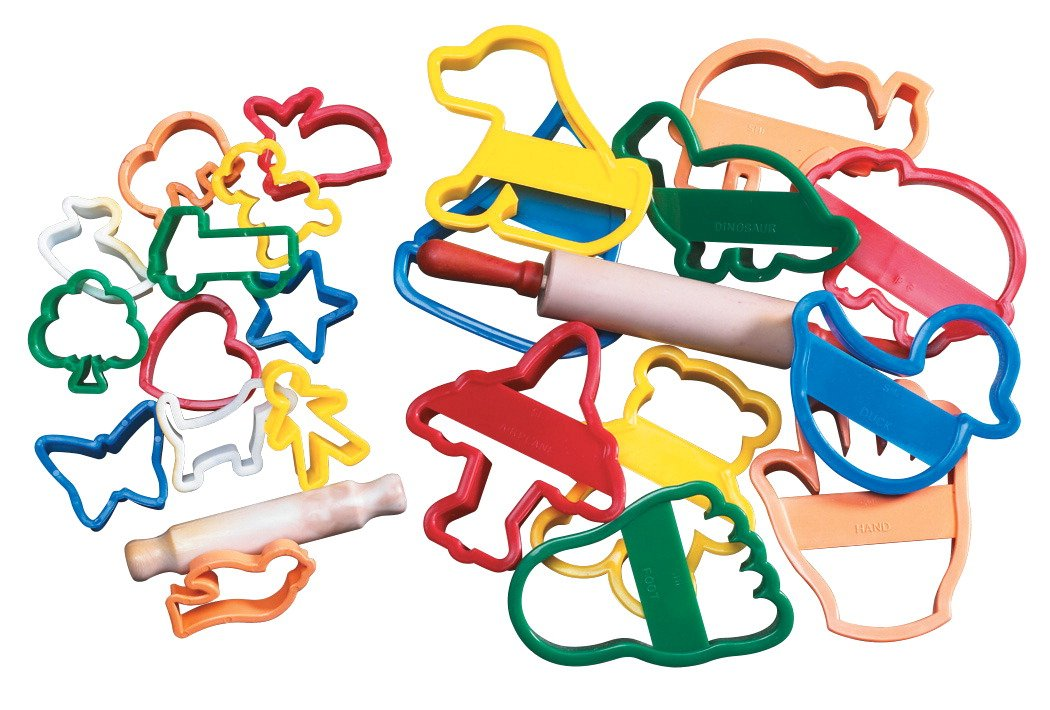 School Smart Animal and Objects Clay Cutters with Rolling Pin - 4 in - Set of 10 - Assorted Colors School Specialty 085802