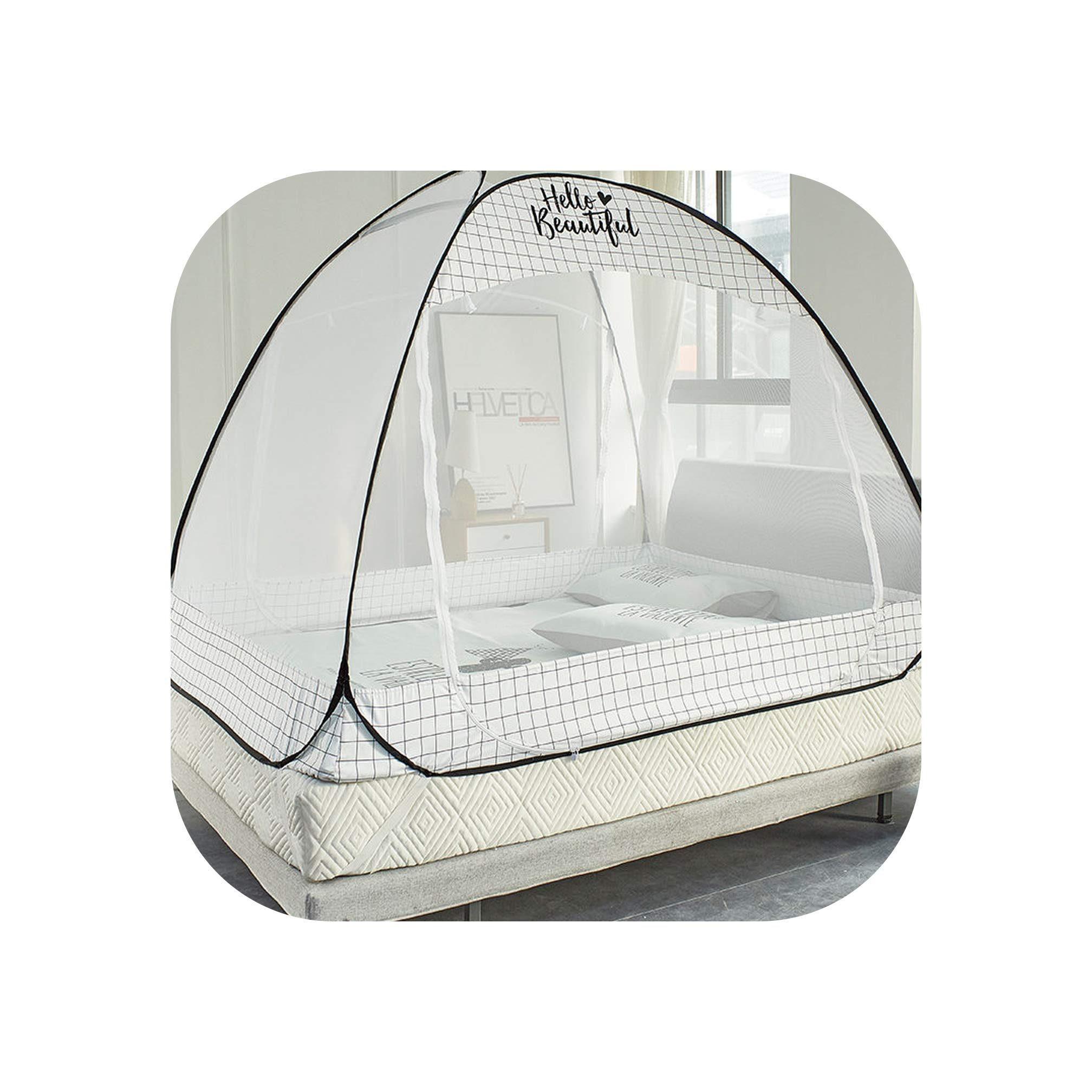 Cute Printing Parting Mosquito Net Summer Isolate Mosquito Mesh Canopy Folding Mosquito Net Kids Bed Tent,Grid,1.8m (6 feet) Bed