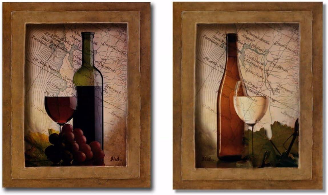"wallsthatspeak Set of 2 Kitchen Wall Decorations, 8""x10"" Vintage Wine  Prints, Classy, Unframed"