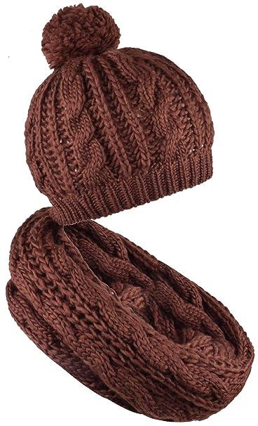 89da3b49f713c WDSKY Women s Knit Pom Pom Beanie Winter Infinity Scarf Set Brown at ...