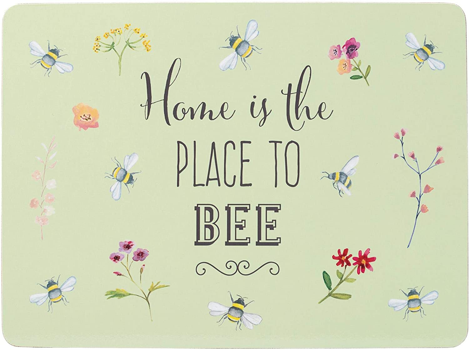4 X BEES BEE FLORAL HAPPY CORK BACKED DINING KITCHEN PLACEMATS PLACE MATS GREEN