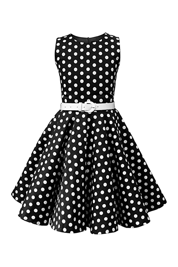 Kids 1950s Clothing & Costumes: Girls, Boys, Toddlers BlackButterfly Kids Audrey Vintage Polka Dot 50s Girls Dress $35.99 AT vintagedancer.com