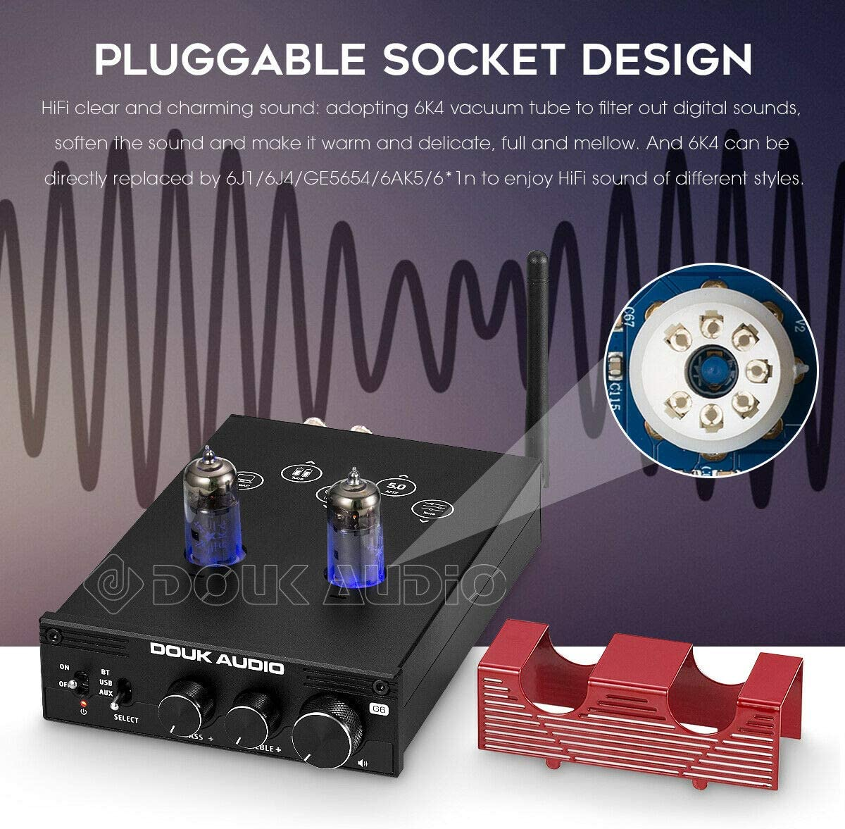 Nobsound Amplificador de tubo HiFi Bluetooth 5.0 al vac/ío est/éreo Tube Amplifier APTX-LL 160W /× 2