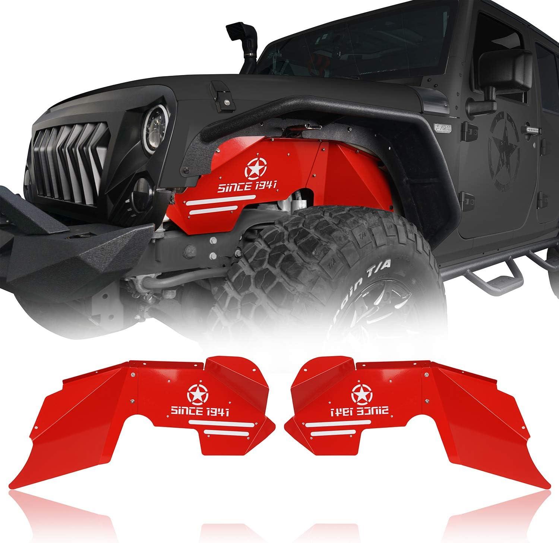 Bright Red /& Matte Black Hooke Road Jeep Wrangler JK 07-18 Front and Rear Inner Fender Liners Kit