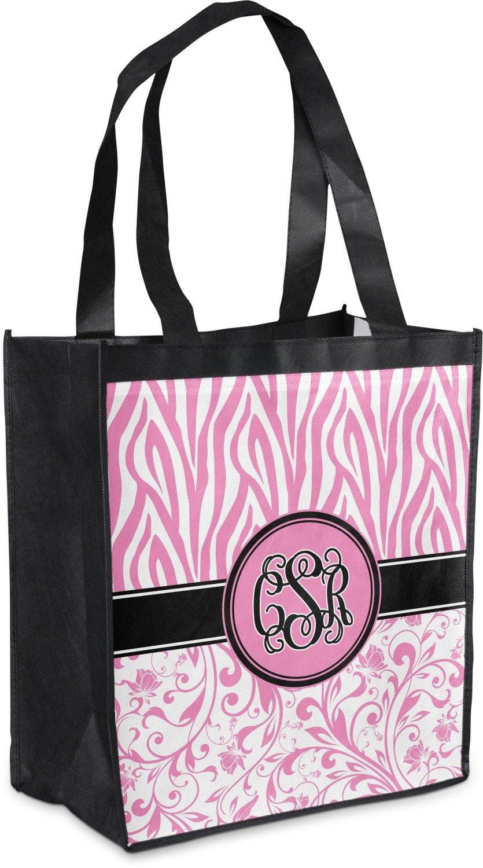 Zebra &フローラルGrocery Bag ( Personalized ) B07652QS11